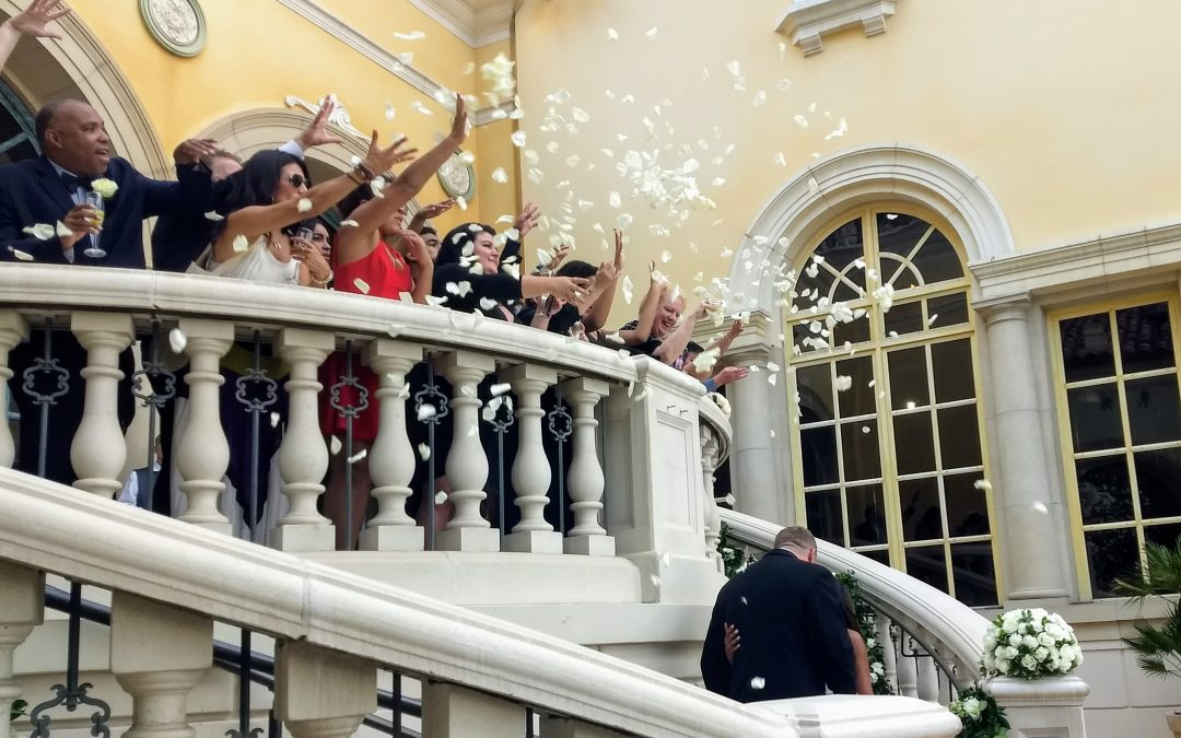 Recipe for a Perfect Wedding in June 2019 includes Flowers, Good Friends, Harp Music and a Beautiful Day in Las Vegas